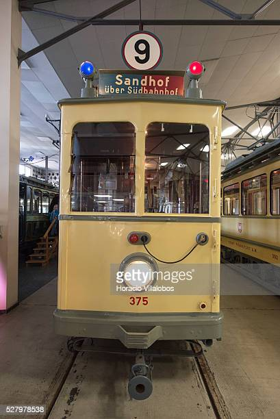 Front of a carefully restored vintage street car at the Transport Museum in Frankfurt Germany 24 March 2013 Situated at the end of tram line 12 in...