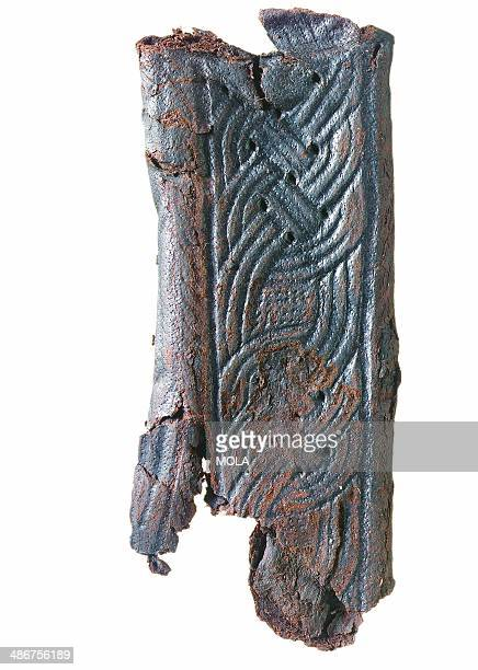 Front of a medieval knife sheath with engraved interlace decoration from the 19922001 excavations at the Merrill Lynch Financial Centre City of London