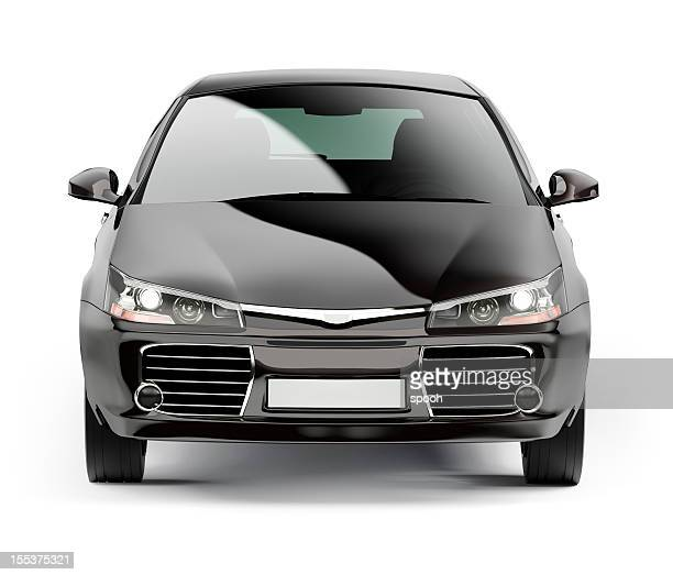 front of a modern black compact car isolated on white - frontaal stockfoto's en -beelden