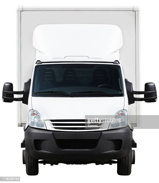 front of a small truck (clipping path included) - frontaal stockfoto's en -beelden