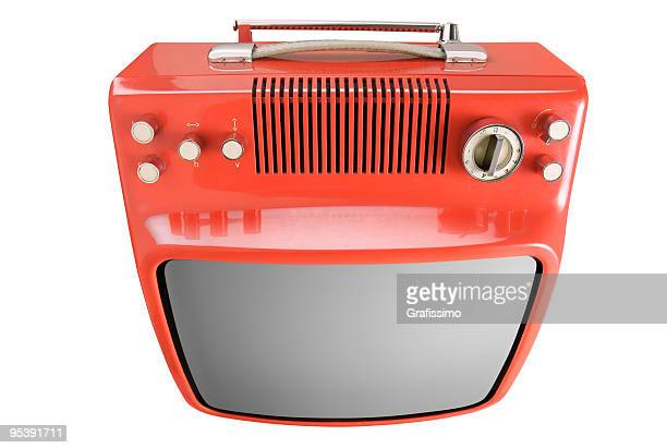 front of an old orange tv - tv distortion stock photos and pictures