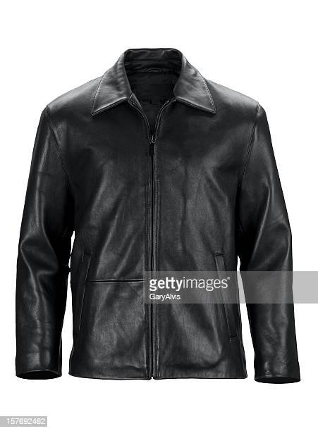 front of black leather jacket-isolated on white w/clipping path - black jacket stock pictures, royalty-free photos & images
