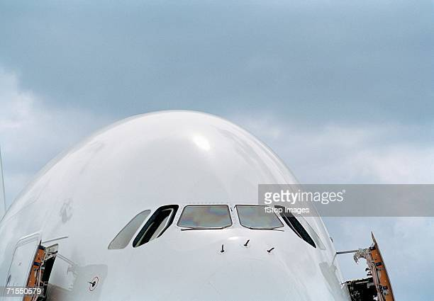 Front of commercial airplane