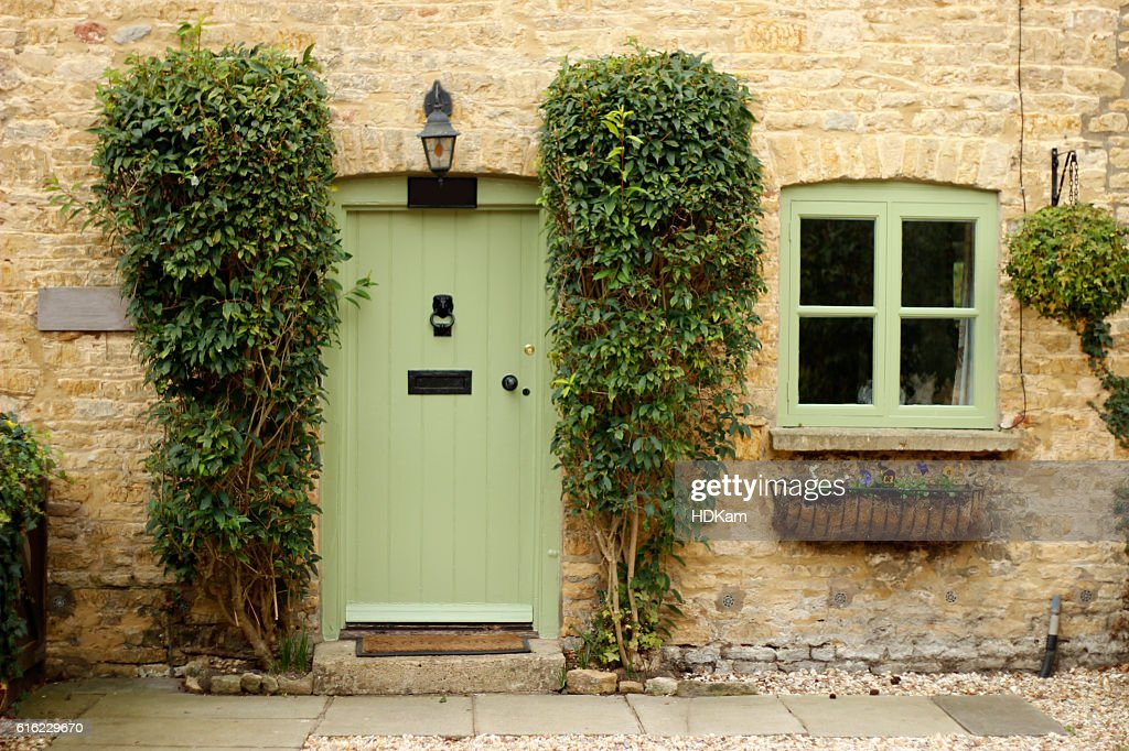 ... Front Of Cottage With Green Door And Window ...