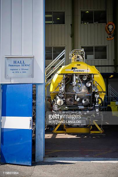 Front of French Research Institute for Exploration of the Sea Nautile a manned submarine designed for observing ocean floors equipped with digital...