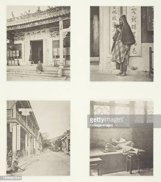 Front of Kwan-Yin Temple, Hong-Kong; A Mendicant Priest; A Street in Hong-Kong; Opium-Smoking in a Restaurant, circa 1868. A work made of collotype,...