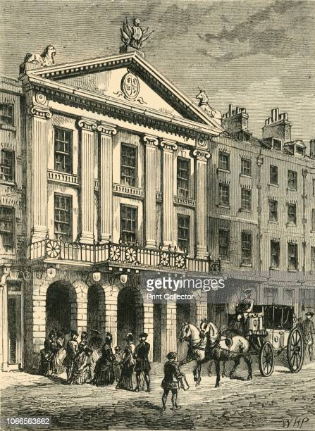Front of Old Drury Lane Theatre' View of the Theatre Royal Drury Lane in Covent Garden The facade on Bridges Street added in 1775 gave the theatre...