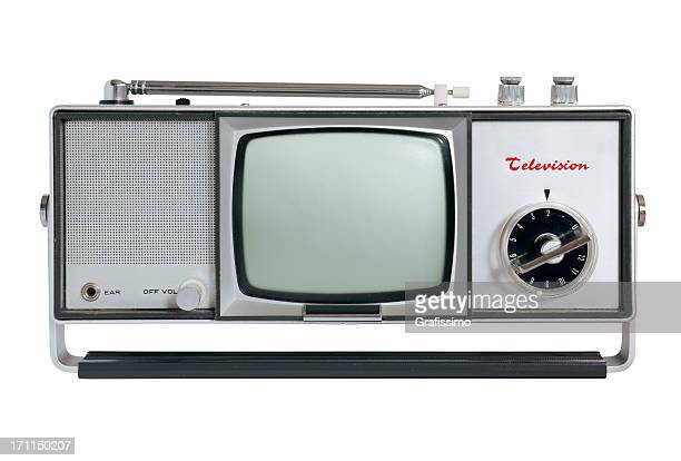 Front of old fashioned grey television isolated on white
