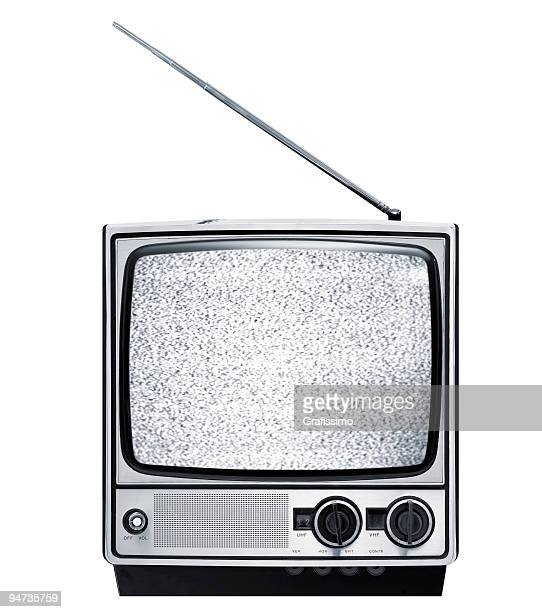 Front of old grey retro television isolated on white
