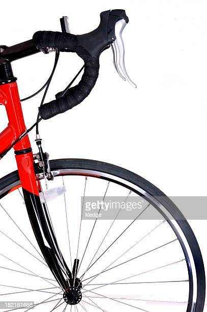 Front of red and black bike and front tire