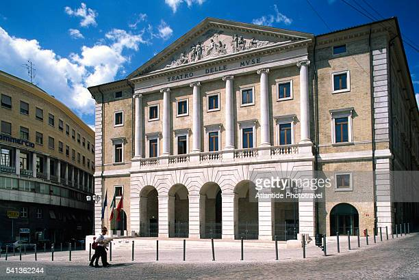 front of teatro delle muse - performing arts center stock pictures, royalty-free photos & images