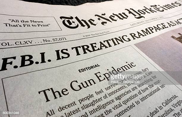 Front page editorial is seen above the fold on the December 5, 2015 edition of the New York Times in a photo taken December 7th in Washington, DC....
