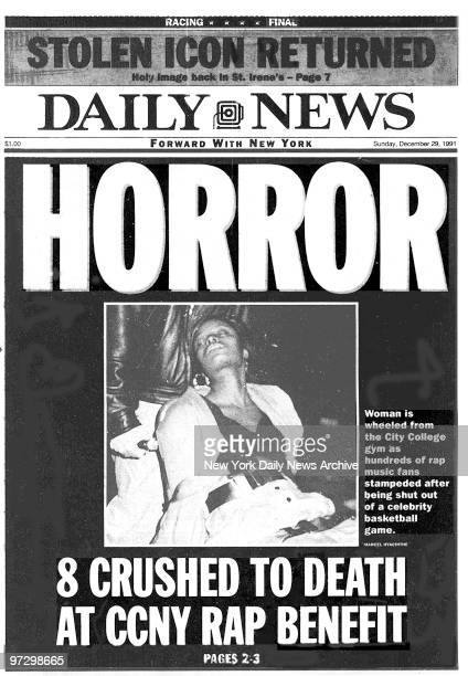 NEWS front page for Sunday December 29 reading 'Horror' about the CCNY rap concert which Sean 'Puffy' Combs had promoted and at which 8 were crushed...