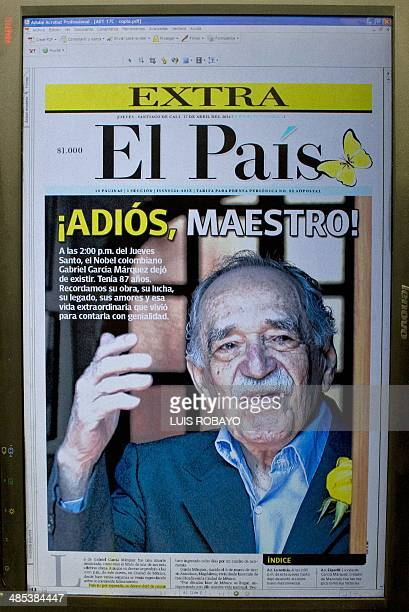 Front page from a local newspaper announcing the death of Colombian Literature Nobel Prize 1982 laureate Gabriel Garcia Marquez in Cali Valle del...