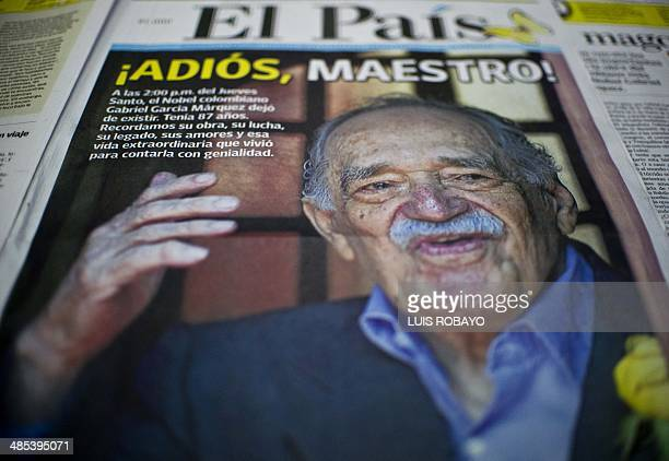 Front page from a local newspaper announcing the death of Colombian 1982 Nobel Prize in Literature laureate Gabriel Garcia Marquez in Cali Valle del...