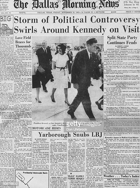 Front page of Dallas Morning News, showing John F. Kennedy and wife, on day of assassination.