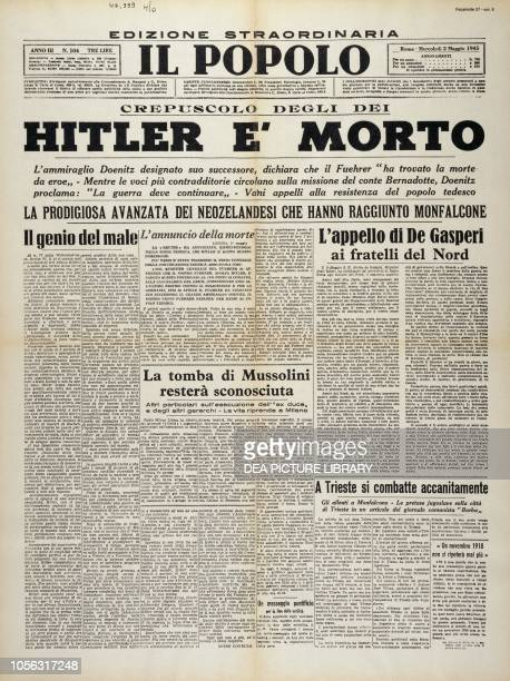 Front page of Il Popolo, Christian Democrats newspaper, with news of the death of Adolf Hitler, May 2 World War II, Italy, 20th century.