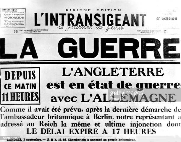 Front page of 'L'Intransigeant' newspaper announcing that England is entering the war France World War II