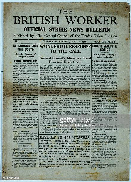 Front page of 'The British Worker' published by the Trades Union Congress on 5 May 1926 during the General Strike