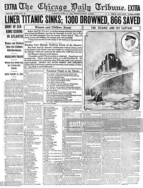 Front Page of the Chicago Daily Tribune for Tuesday April 16th headlining the sinking of the Titanic