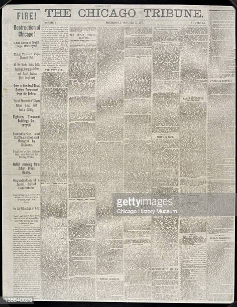 Front page of the Chicago Tribune regarding the Great Chicago Fire Chicago Illinois October 11 1871
