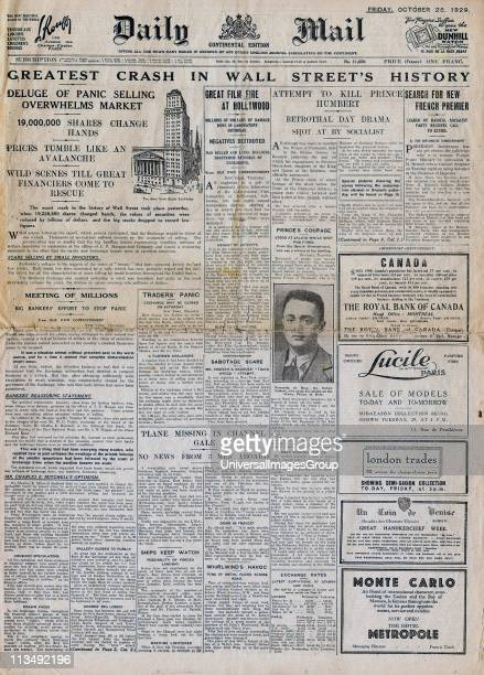 Front page of the Continental edition of the London 'Daily Mail' 25 October 1929 reporting the Wall Street Crash