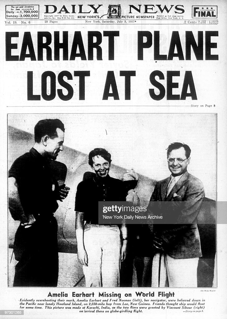 Front page of the Daily News dated July 3, 1937, Headline: EARHART PLANE LOST AT SEA, Subhead: Amelia Earhart Missing on World Flight,
