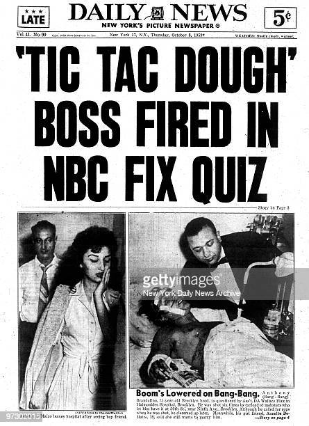Front page of the Daily News from October 8 1959Headline Tic Tac Dough Boss Fired in NBC Fix QuizNOTE Page must be shown in its entirety