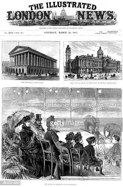 Front Page of The Illustrated London News 1887 Queen Victoria watching a circus performance at Olympia West Kensington London 1887 marked the Queen's...