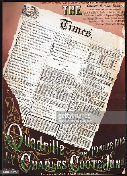 Front page of the London Times is the cover illustration for the sheet music 'The Times,' published in London, England, circa 1850.
