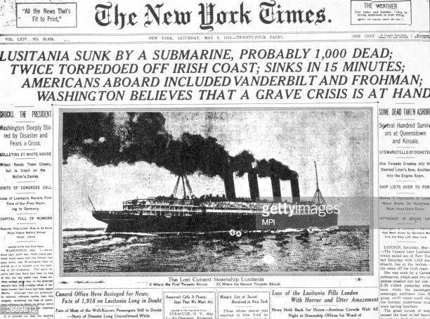 Front page of the 'New York Times' detailing the sinking of the 'Lusitania'