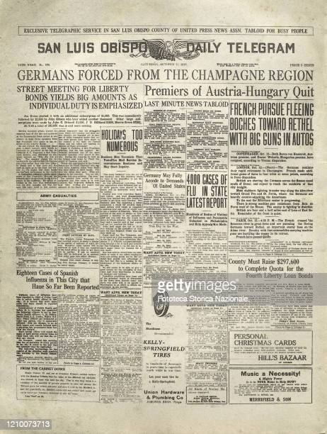 """Front page of the newspaper """"San Luis Obispo Daily Telegram"""" - Below the main headlines we read some information on the cases of Spanish flu: '4000..."""