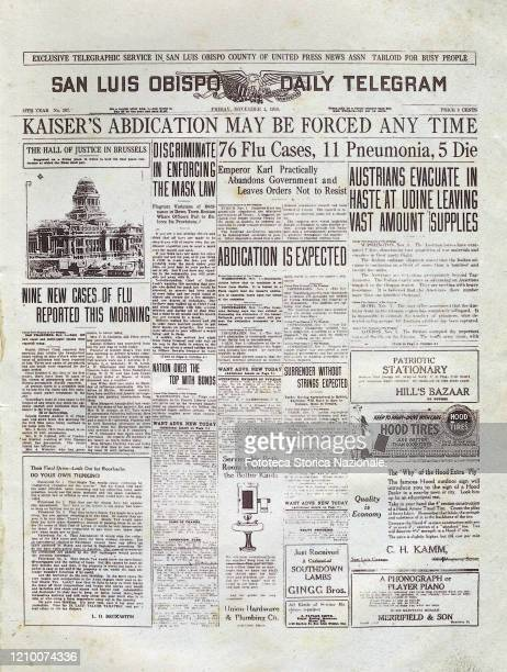 Front page of the San Luis Obispo Telegraph newspaper - Below the main headlines we read some information on the cases of Spanish flu: '76 Flu Cases,...