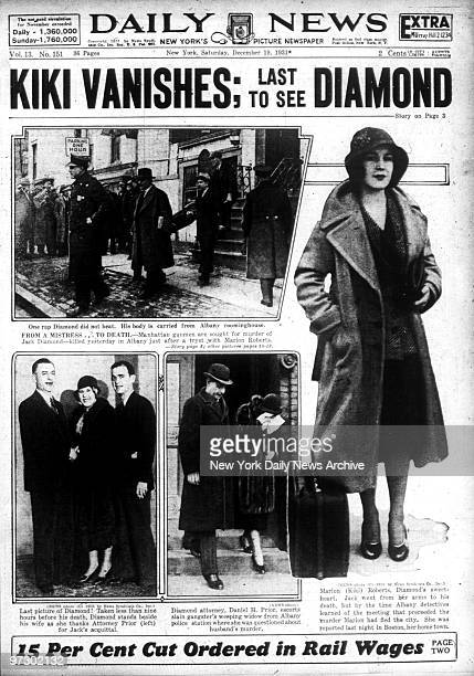 Front page of the Saturday December 19 1932 Daily News with headline about notorious gangster Legs Diamond reading Kiki Vanishes Last To see Diamond