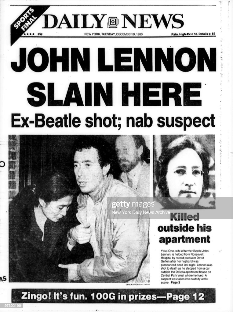 Front page of Tuesday, December 9, 1980, edition of the Daily News, with headline reading 'John Lennon Slain Here - Ex-Beatle Shot; Nab Suspect.' Shows Yoko Ono being helped from Roosevelt Hospital by David Geffen.