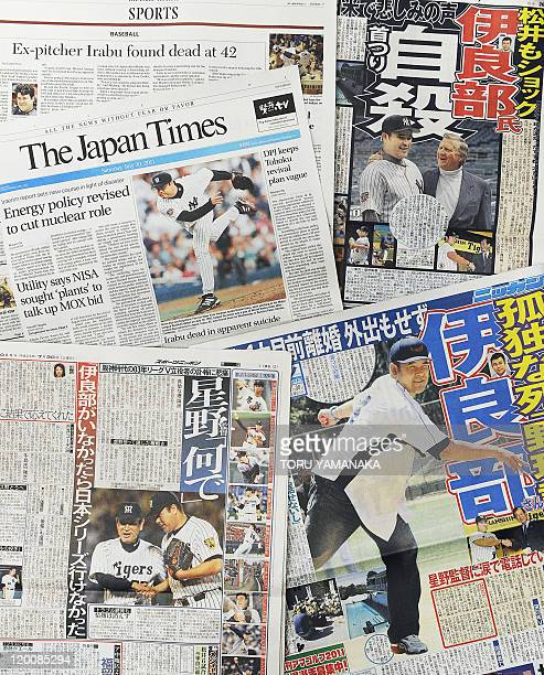 Front pages newspapers reporting on the death of Hideki Irabu in Tokyo on July 30 2011 Japanese baseball fans players and sports writers mourned the...