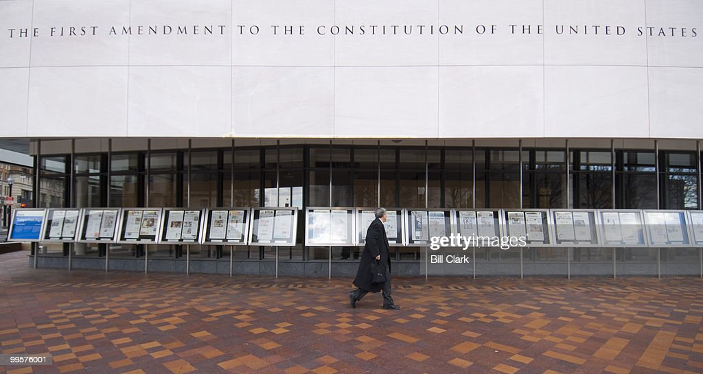 Front pages of newspapers frmo around the world are on display in front of the Newseum on Feb. 7, 2008. The Newseum announced today that their new building will open to the public on April 11, 2008.