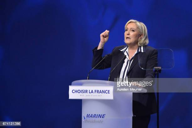Front Party Leader and Presidential Candidate Marine Le Pen addresses voters during a political meeting on April 27 2017 in Nice France Le Pen is...
