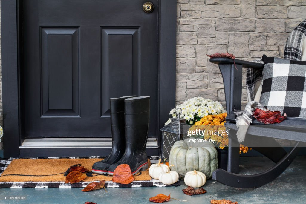 Front Porch Decorated for Autumn with Buffalo Plaid : Stock Photo