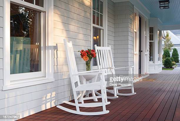 Front porch scene of custom designed home