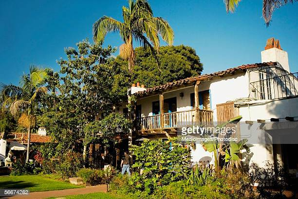 front profile of spanish style buildings in old town san diego, san diego, california, usa - old town san diego stock pictures, royalty-free photos & images