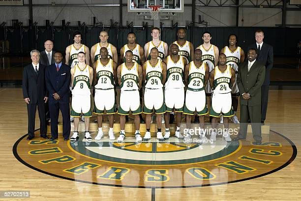 Front Row : Assistant Coach Dean Demopoulos, Associate Coach Dwane Casey Luke Ridnour, Damien Wilkins, Antonio Daniels, Ray Allen, Reggie Evans,...