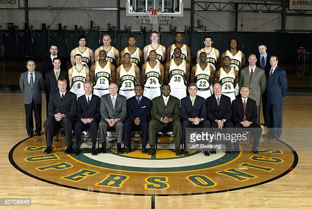 Front Row : Assistant Coaches Jack Sikma, Dean Demopoulos, Bob Weiss, Associate Coach Dwane Casey, Head Coach Nate McMillan, President and CEO Wally...