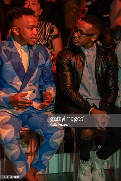 Front row at the MaXhosa by Laduma show during the Africa Fashion International Joburg Fashion Week at Melrose Arch on October 05 2018 in...