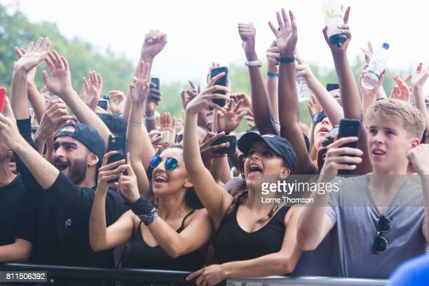 Front row fans during Day 3 of the Wireless Festival at Finsbury Park on July 9 2017 in London England