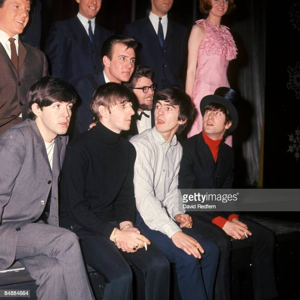 Front row from left, Paul McCartney, Ringo Starr, George Harrison and John Lennon of The Beatles seated in front of, behind from left, Tommy Quickly,...