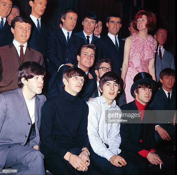Front row from left, Paul McCartney, Ringo Starr, George Harrison and John Lennon of The Beatles appear at a press call to promote the band's...