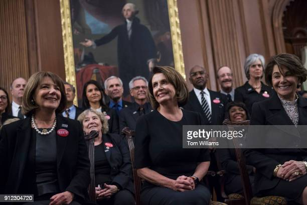 Front row from left Rep Susan Davis DCalif House Minority Leader Nancy Pelosi DCalif and Anna Eshoo DCalif wear all black during a photo op in the...