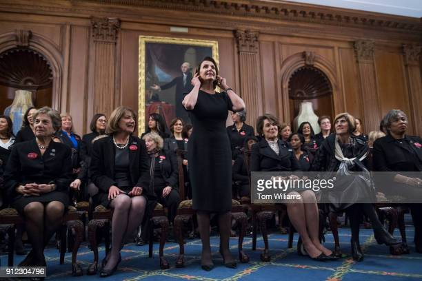 Front row from left Reps Jan Schakowsky DIll Susan Davis DCalif House Minority Leader Nancy Pelosi DCalif Anna Eshoo DCalif Rosa DeLauro DConn and...