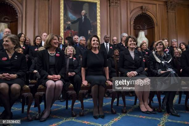 Front row from left Reps Jan Schakowsky DIll Susan Davis DCalif House Minority Leader Nancy Pelosi DCalif Anna Eshoo DCalif and Rosa DeLauro DConn...
